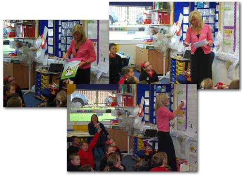 Hilary Robinson visiting Anagh Coar School, Isle of Man