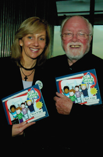 Hilary Robinson and Sir Richard Attenborough at the Pick It Up! book launch