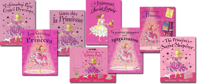 Book covers in different languages of the Princess series.