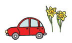 Illustration of a car and some daffodils