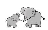 Illustration of two elephants