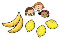 Illustration of children, bananas and lemons