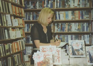 Hilary Robinson signing Sarah the Spider books at Waterstones in Leeds