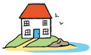 Illustration of a house by the sea