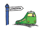 Illustration of a train going to London
