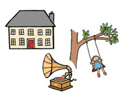 Illustration of a girl on a swing in the garden of a large house