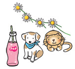 Illustration of pink pop, a dog and a cat