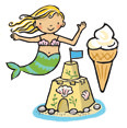 Illustration of a mermaid, a sandcastle and ice cream